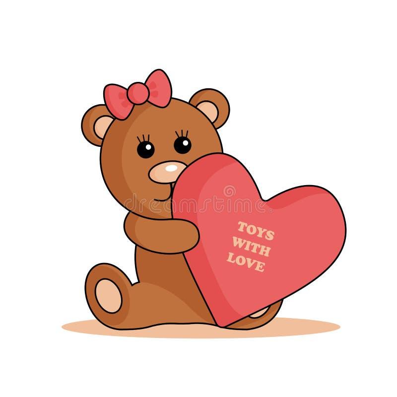 Логотип медведя со смычком и сердцем иллюстрация штока