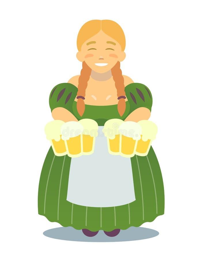 Логотип - милая белокурая девушка в традиционном платье с кружками пива День ` s Oktoberfest или StPatrick Харчевня, паб, бар бесплатная иллюстрация