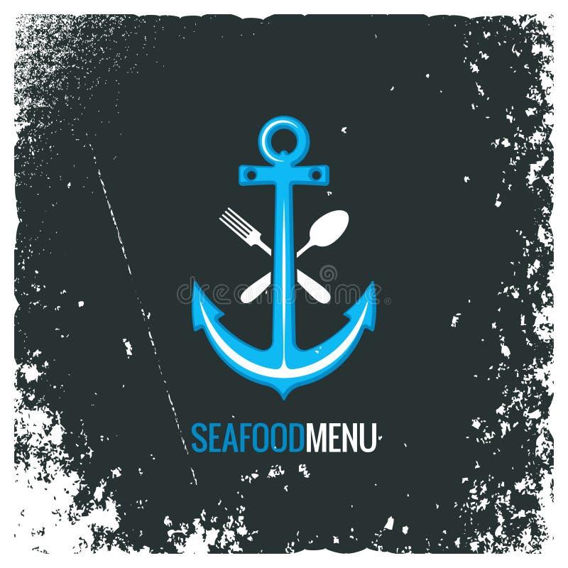 Логотип морепродуктов с анкером, вилкой и ложкой иллюстрация вектора