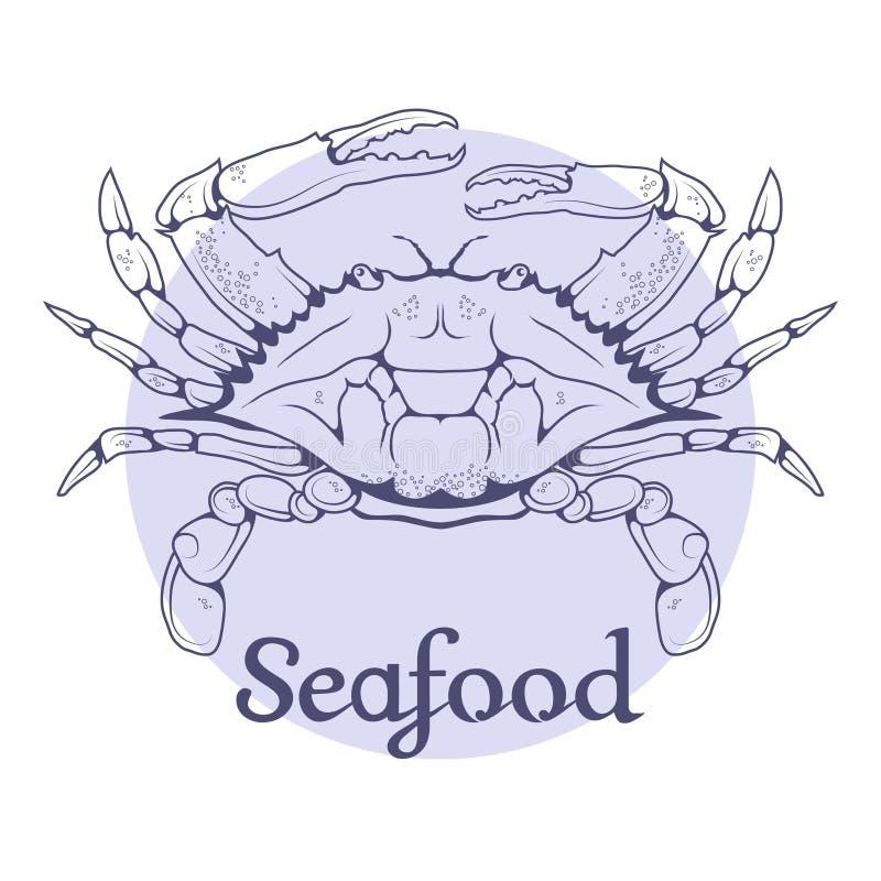 Логотип морепродуктов вектора Рак иллюстрация штока