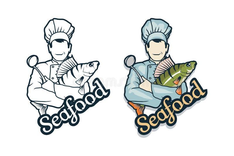Логотип морепродуктов вектора Шеф-повар шаржа с рыбами в руках бесплатная иллюстрация