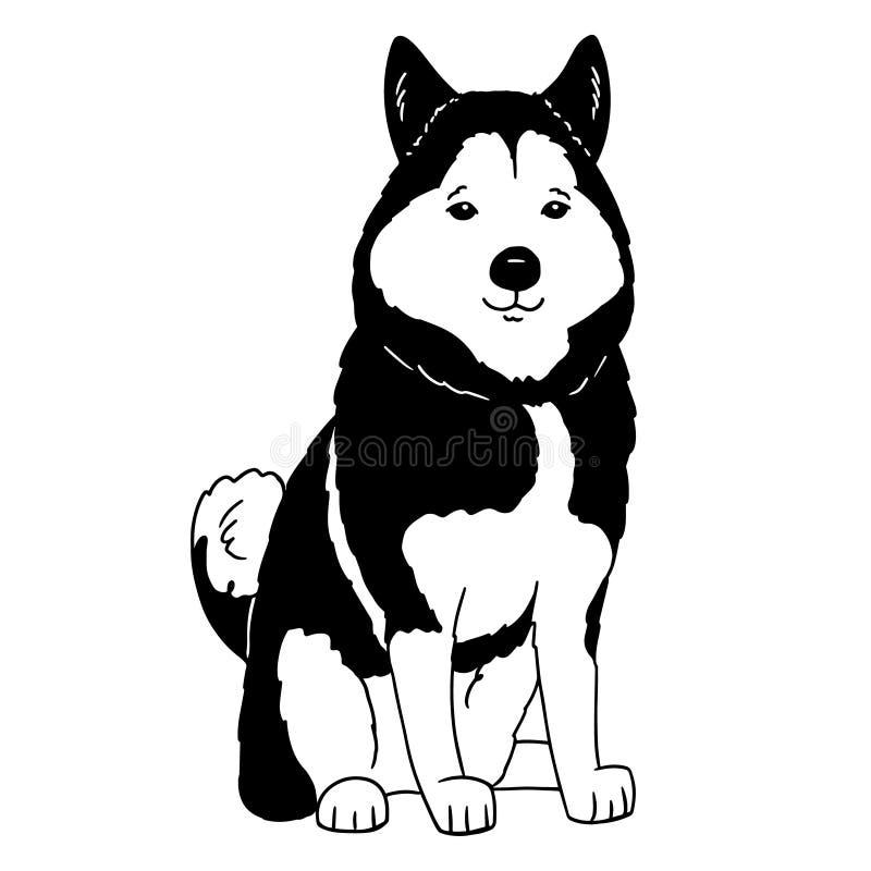 Логотип мультфильма сиплый Портрет лайки на белой предпосылке Черно-белый силуэт собаки Иллюстрация вектора любимца Рука бесплатная иллюстрация