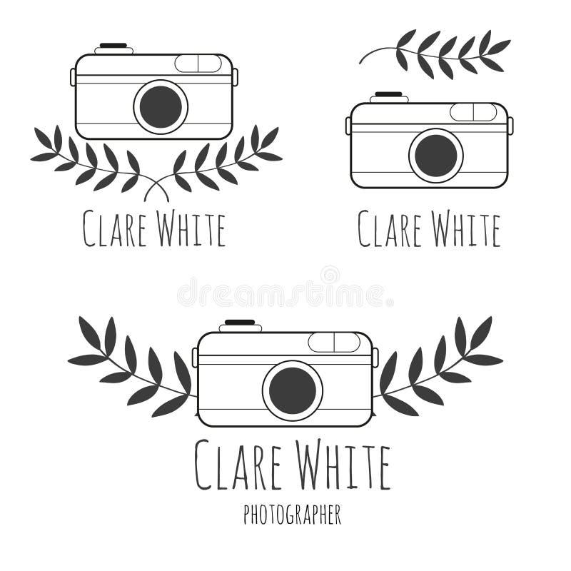 Логотип нарисованный рукой для фотографа с камерой бесплатная иллюстрация