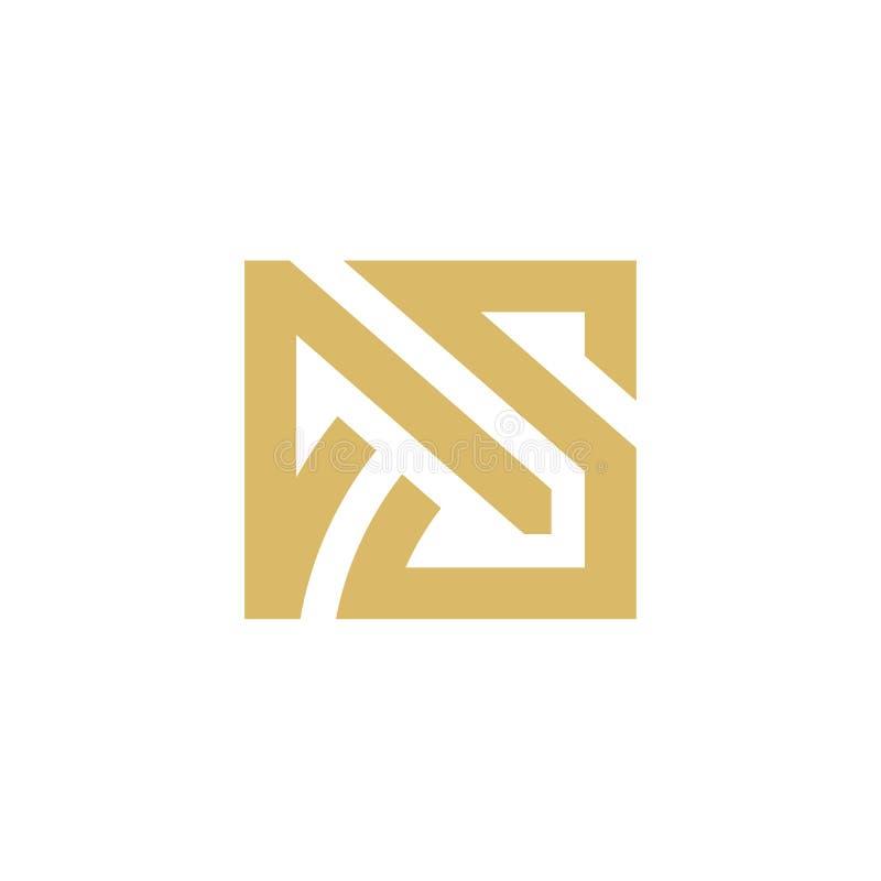 Логотип начального письма КАК, абстрактный значок логотипа вензеля, минималистская линия дизайн квадрата искусства - вектор иллюстрация вектора