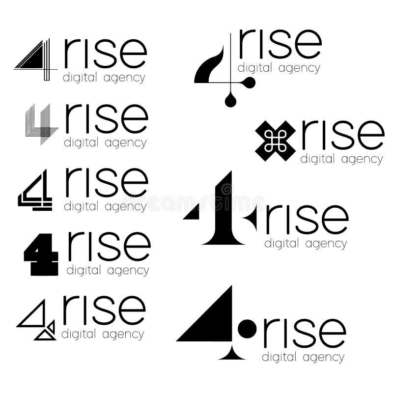 Логотип на ваш дизайн 4 подъема Комплект ультрамодного логотипа для цифрового агенства иллюстрация штока