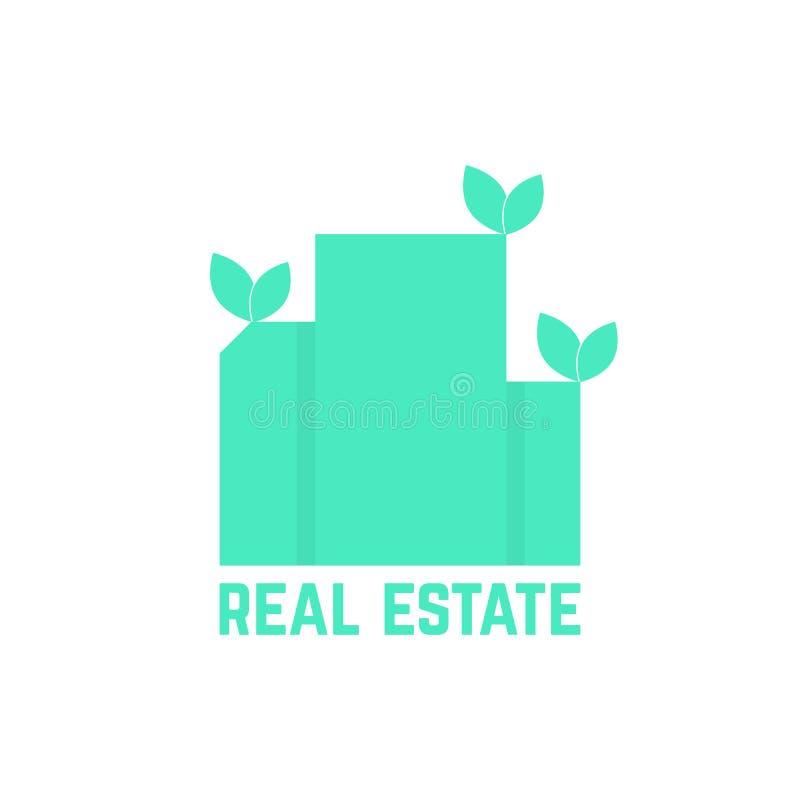 Логотип недвижимости с листьями бесплатная иллюстрация