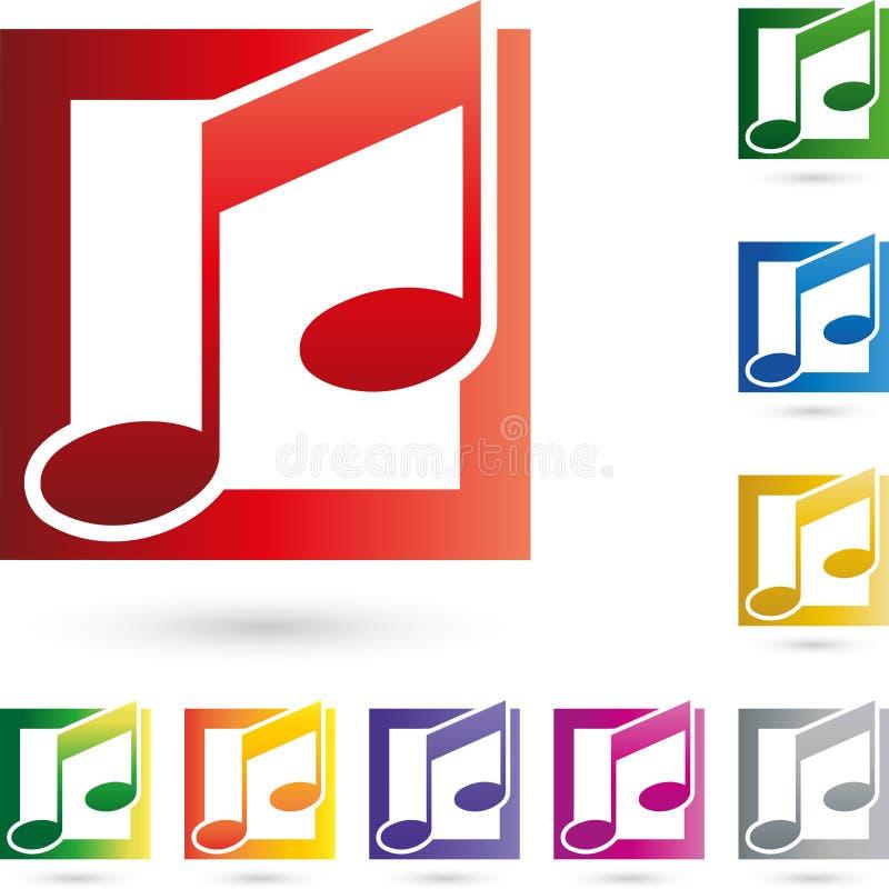 Логотип нот, музыки и примечаний музыки иллюстрация вектора