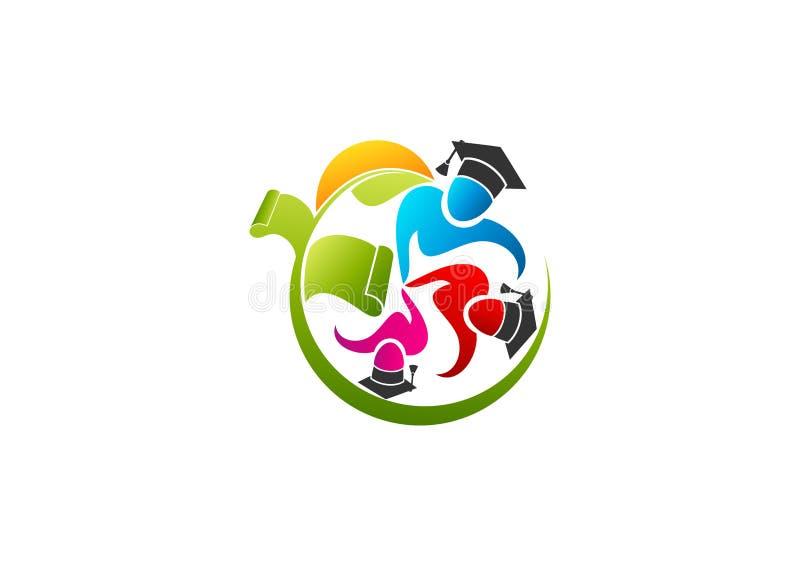 Логотип образования, природа уча знак, значок исследования детей здоровый, успех школы солнца, зеленый символ градации и студент  иллюстрация штока