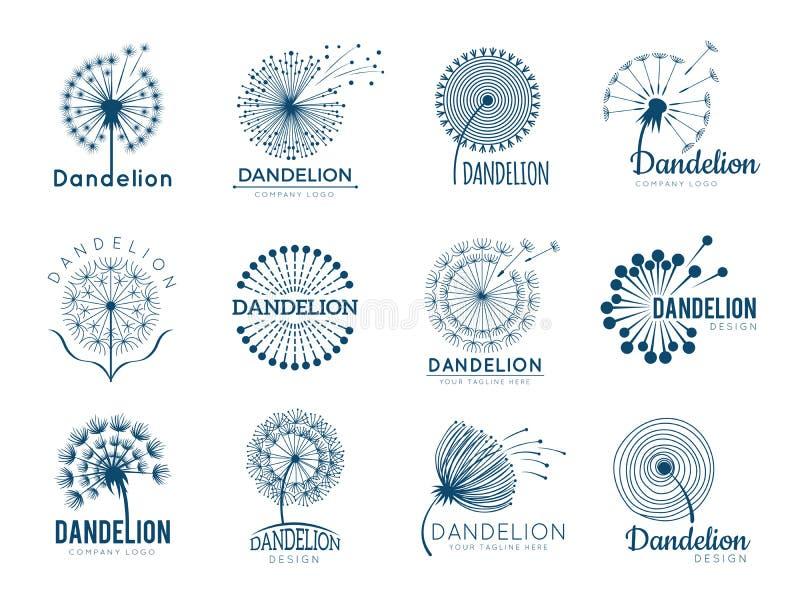 Логотип одуванчика ботаники Травяные иллюстрации вектора цветков листьев для дизайна бренда иллюстрация штока
