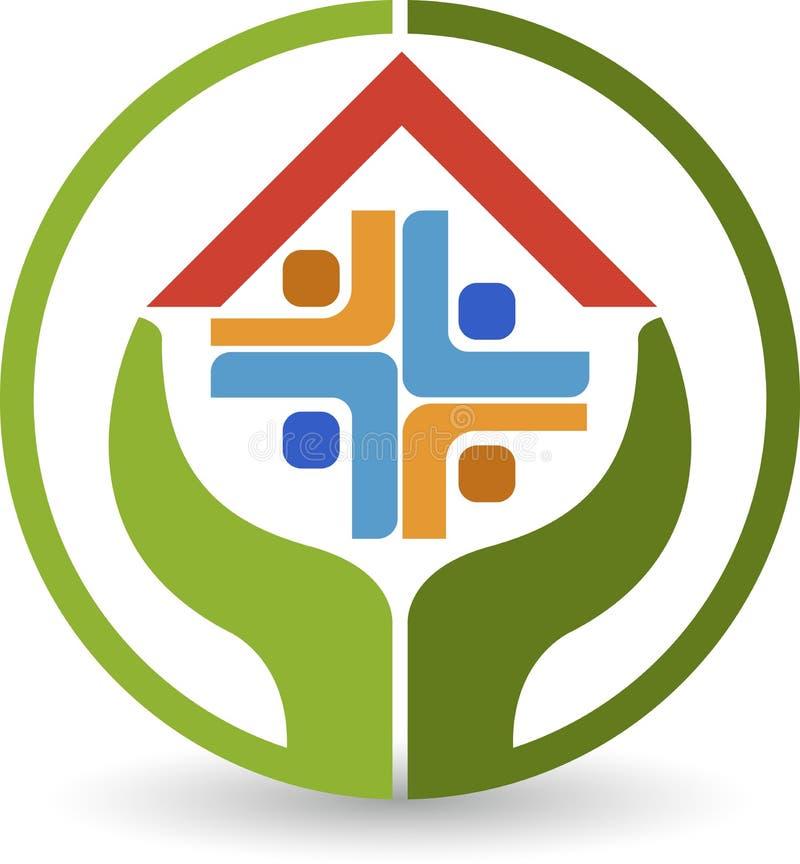 Логотип домашнего ухода иллюстрация вектора