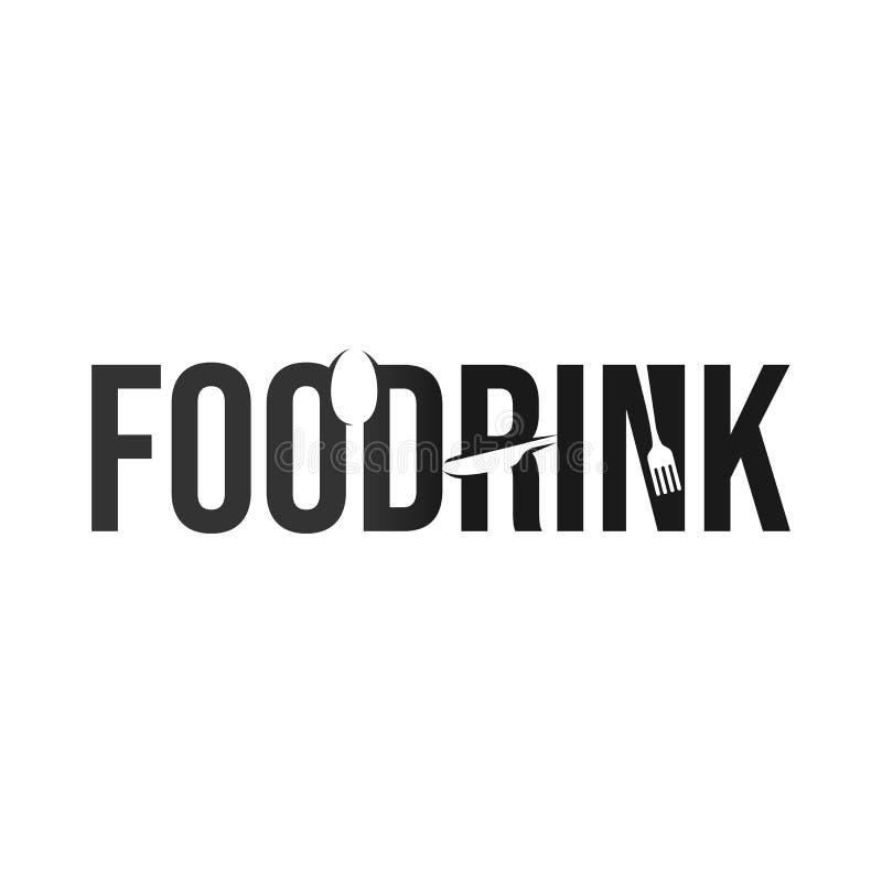 Логотип оформления словесных знаков еды и напитка иллюстрация вектора