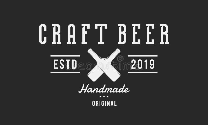 Логотип пива ремесла Ретро плакат для паба, бара, харчевни, винзавода, дома пива вектор бесплатная иллюстрация