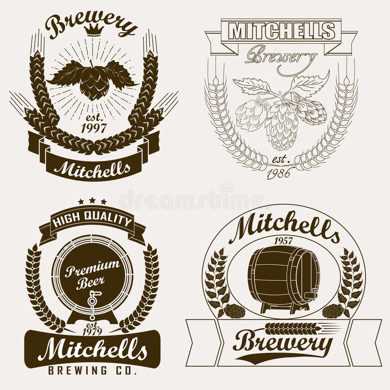 Логотип пива, ярлык ремесла винзавода иллюстрация штока