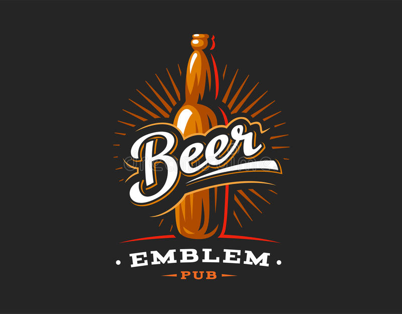 Логотип пивных бутылок, эмблема на темной предпосылке бесплатная иллюстрация