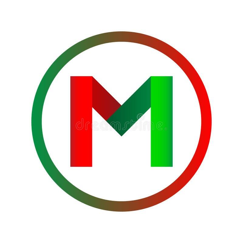 Логотип писем m белизна трактора иконы предпосылки катят сетью, котор иллюстрация штока