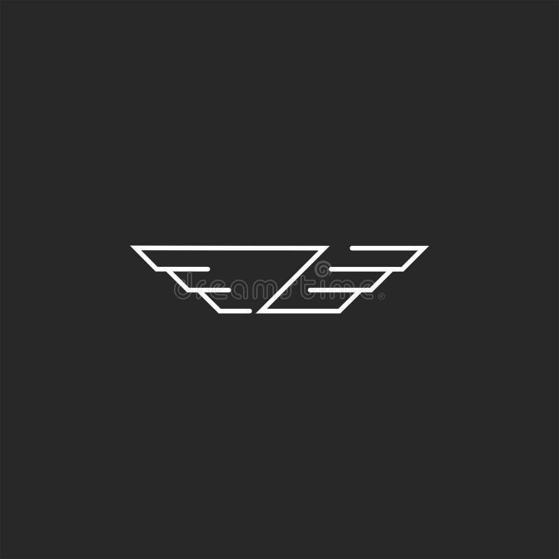 Логотип письма символа z крыльев, тонкая линия вензель хипстера, творческая эмблема автомобиля иллюстрация штока