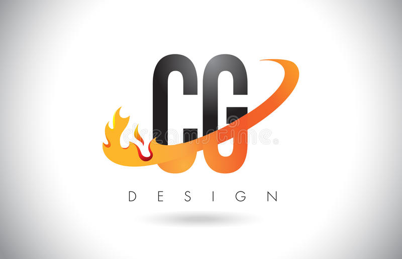 Логотип письма CG c g с пламенами дизайном огня и Swoosh апельсина бесплатная иллюстрация