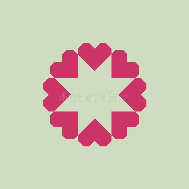 Логотип письма o от геометрических сердец иллюстрация штока
