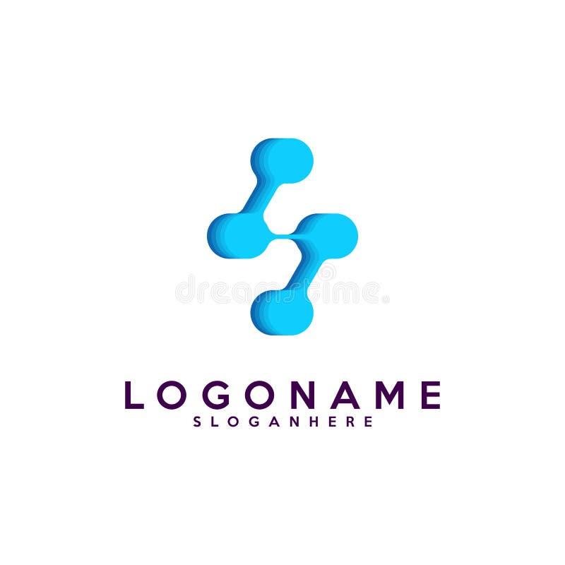 Логотип письма s, технология и цифровое абстрактное соединение точки vector логотип бесплатная иллюстрация