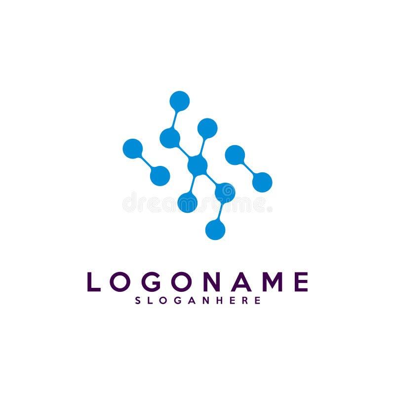 Логотип письма s, технология и цифровое абстрактное соединение точки vector логотип иллюстрация штока