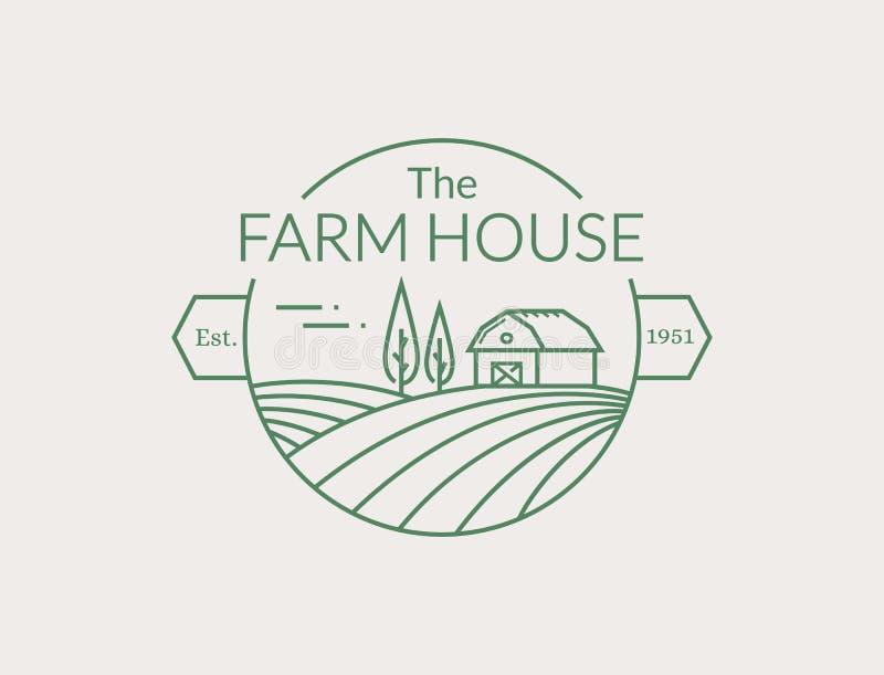 Логотип плана дома фермы Линия эмблема вектора бесплатная иллюстрация