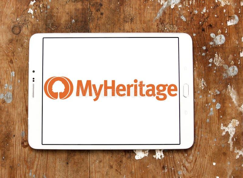 Логотип платформы родословия MyHeritage онлайн стоковое фото rf