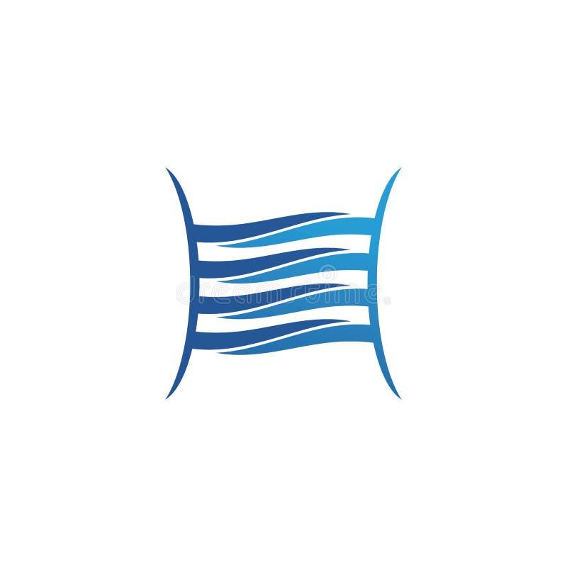 Логотип пляжа волн голубые и приложение значков шаблона символов иллюстрация вектора