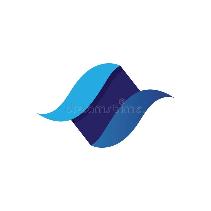 Логотип пляжа волн голубые и приложение значков шаблона символов иллюстрация штока