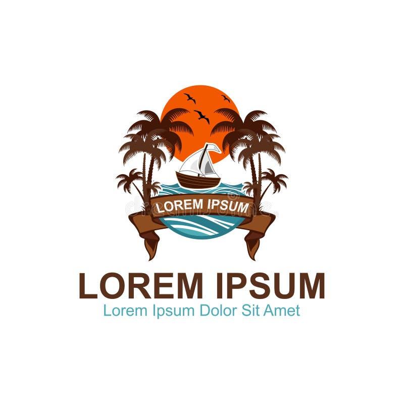 Логотип пляжа рая стоковая фотография rf