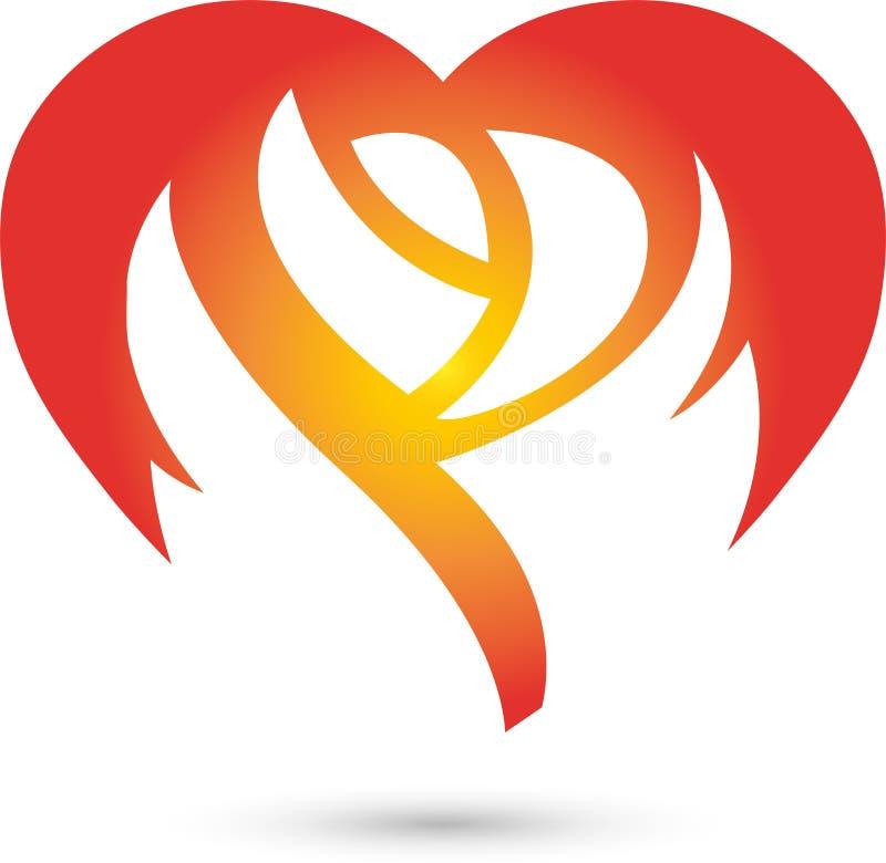 Логотип поднял, цветка и сердца, цветка и подарка иллюстрация штока