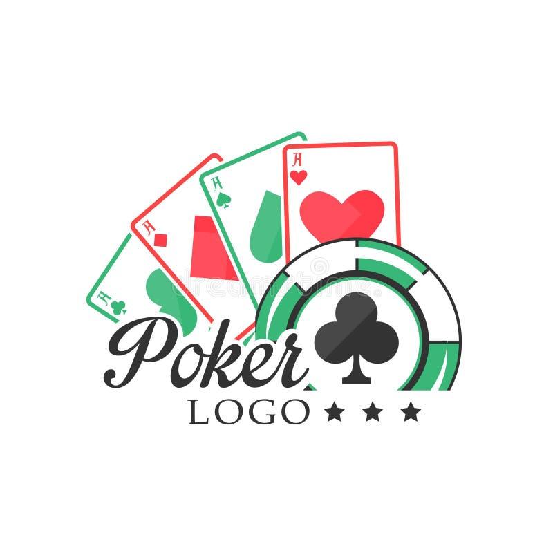 Логотип покера, винтажная эмблема с играя в азартные игры элементами для клуба покера, казино, иллюстрации вектора чемпионата на  иллюстрация вектора