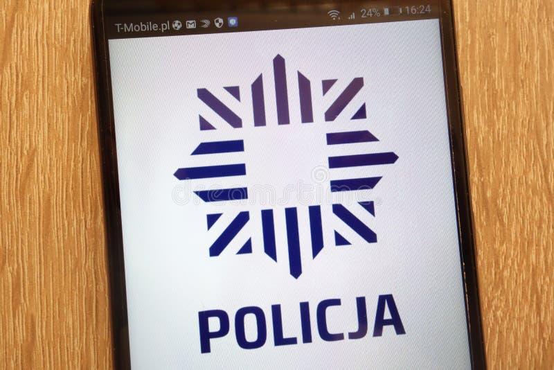 Логотип полиции Policja польский показанный на современном смартфоне стоковая фотография