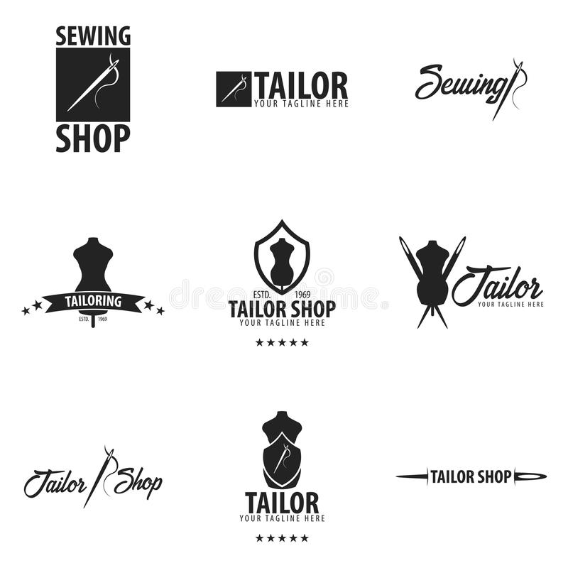 Логотип портноя, шить, handmade или эмблема также вектор иллюстрации притяжки corel иллюстрация штока