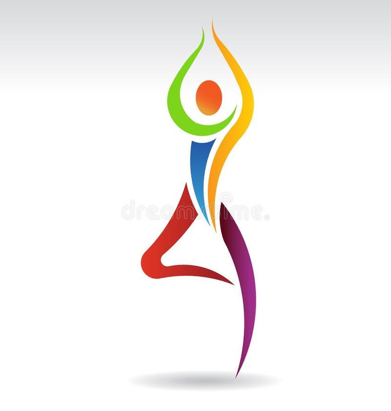 Логотип представления дерева йоги иллюстрация вектора