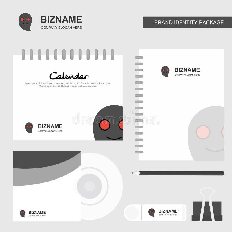 Логотип призрака, шаблон календаря, крышка CD, дневник и бренд USB шаблон вектора комплексного конструирования неподвижный иллюстрация штока