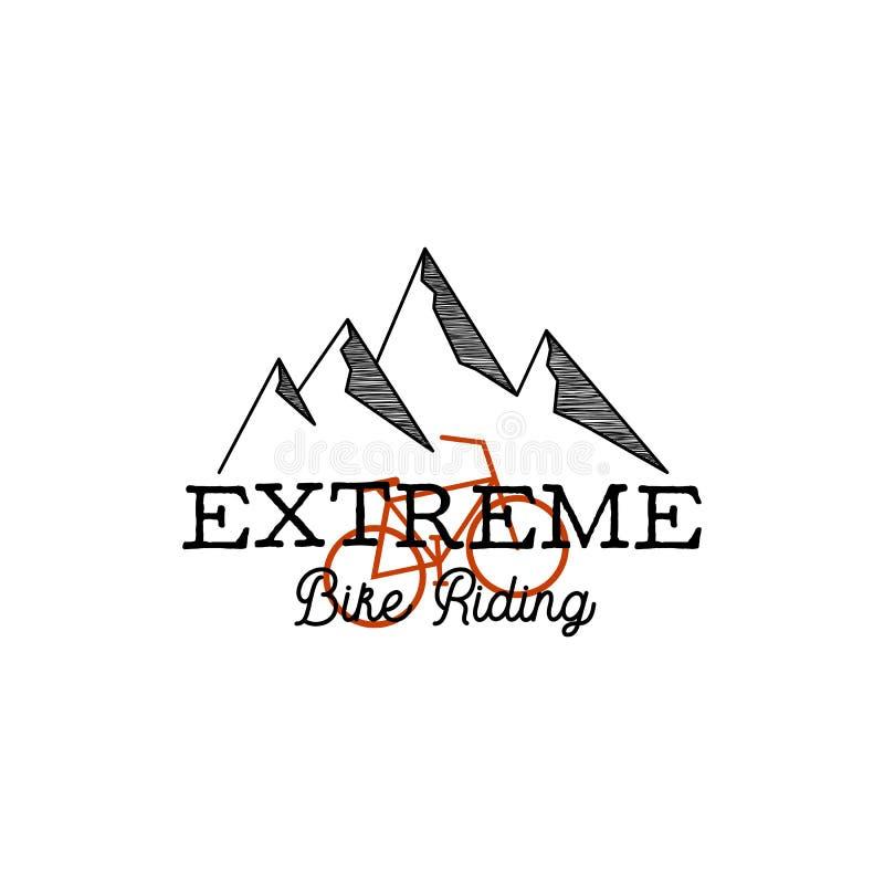 Логотип приключения винтажной руки вычерченный с горами, велосипедом и цитатой - весьма катанием велосипеда Простой линейный граф иллюстрация вектора