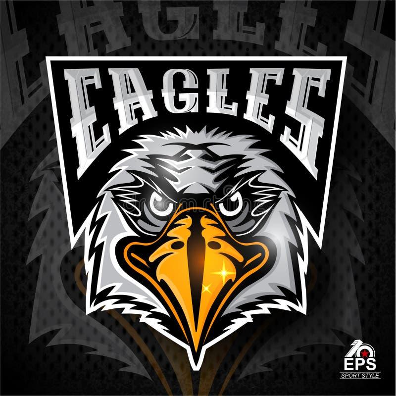 Логотип птицы главный для всех орлов команды спорта на темноте иллюстрация вектора