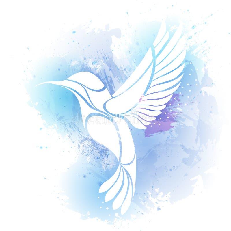 Логотип птицы Colibri Иллюстрация вектора экзотического колибри летая изолированного на предпосылке watercolour бесплатная иллюстрация