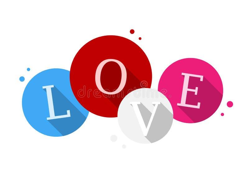 Логотип пузыря значка ВЛЮБЛЕННОСТИ плоский иллюстрация вектора