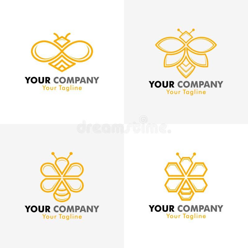 Логотип пчелы вектора стоковое изображение