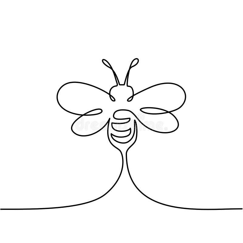 Логотип пчелы летания иллюстрация вектора
