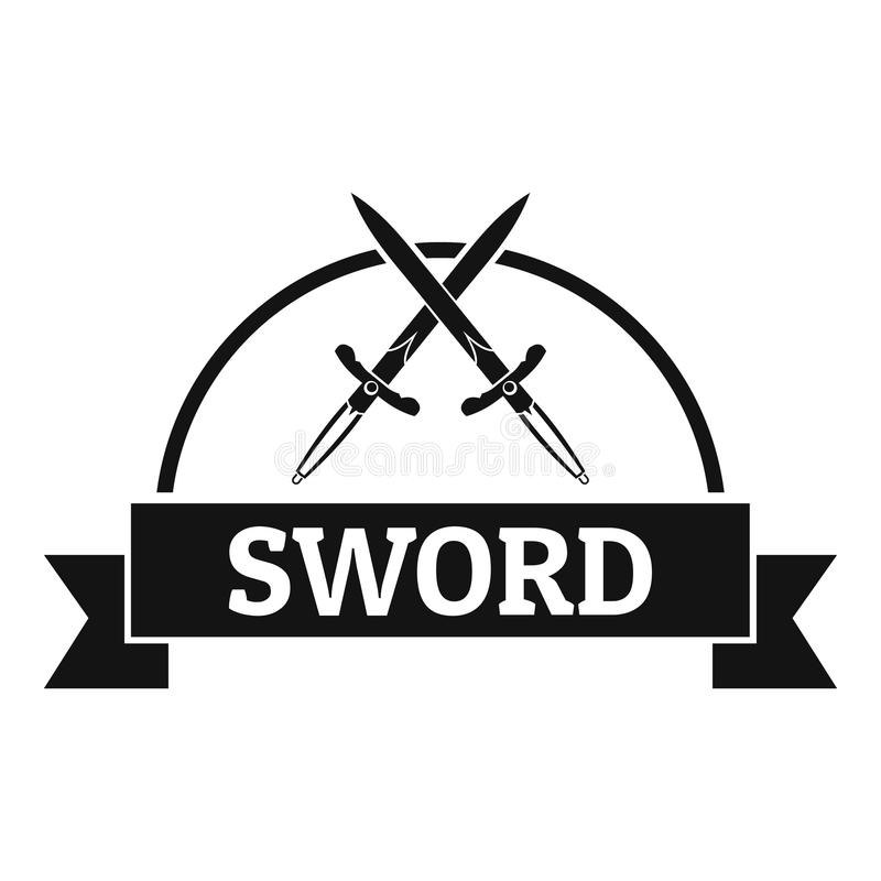 Логотип ратника шпаги, простой черный стиль иллюстрация штока