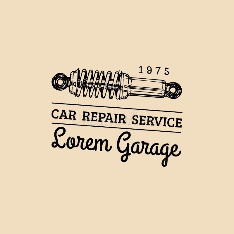 Логотип ремонта автомобиля с иллюстрацией амортизатора удара Vector винтажной гараж нарисованный рукой, автоматический плакат etc иллюстрация штока