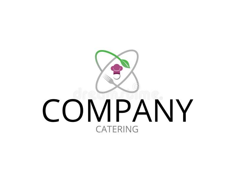 Логотип ресторанного обслуживании атома с вилкой бесплатная иллюстрация