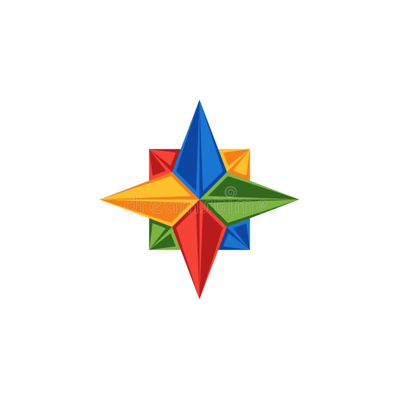 Логотип Роза компаса эмблемы ветра, направления частей эмблемы туризма мира или логотип для системы навигации иллюстрация штока