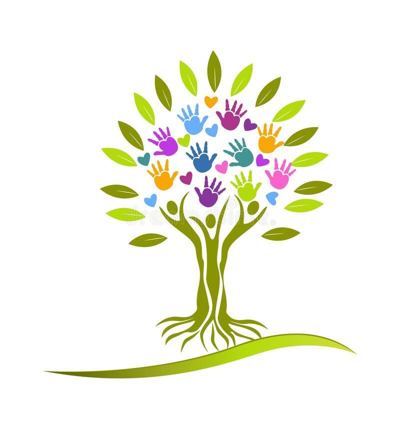 Логотип рук и сердец дерева иллюстрация вектора
