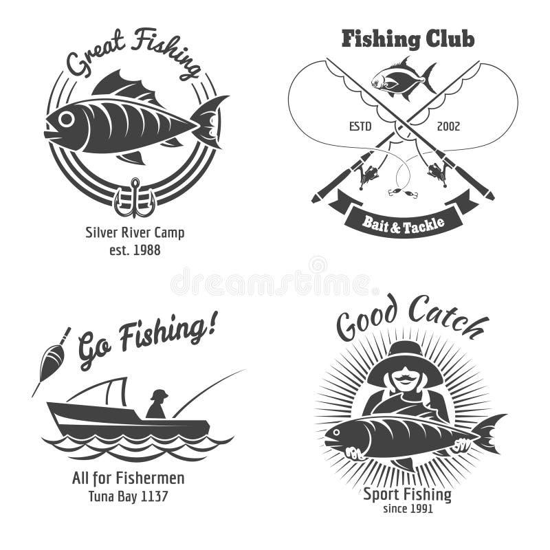 Логотип рыбной ловли и комплект вектора эмблем винтажный иллюстрация вектора