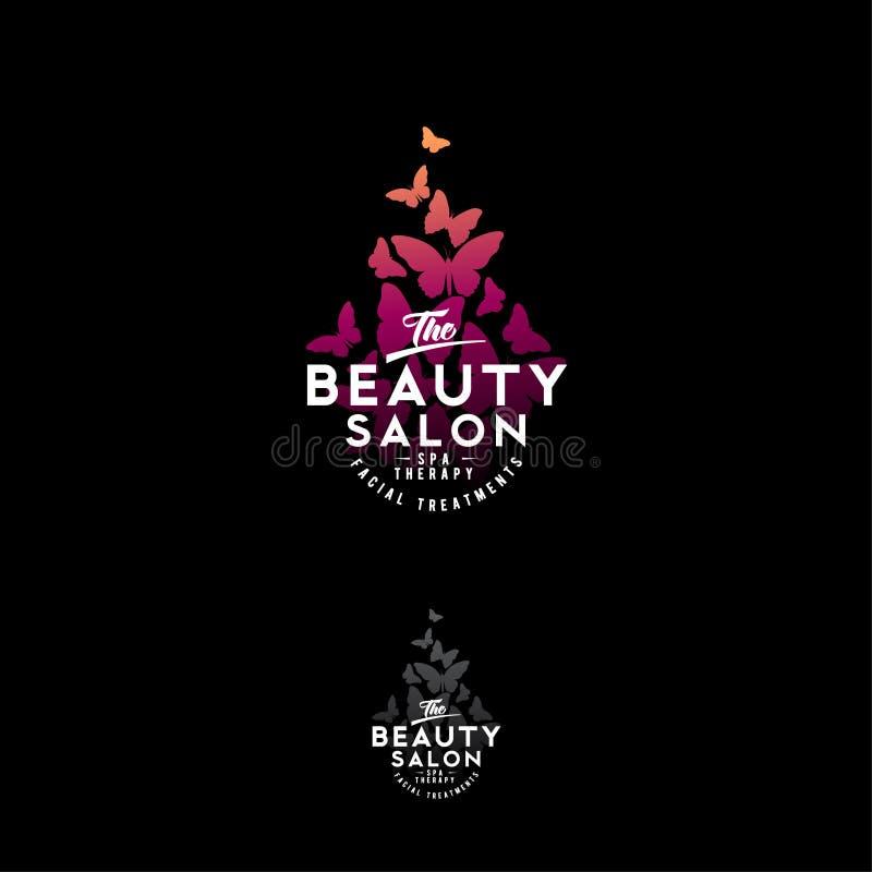 Логотип салона красоты Силуэты бабочек акварели изолированные на темной предпосылке бесплатная иллюстрация