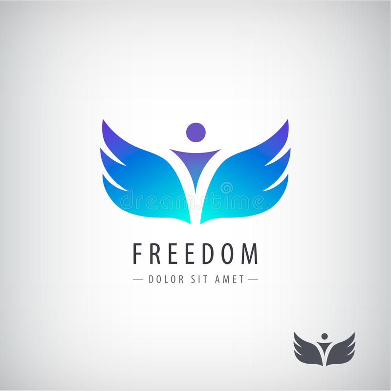 Логотип свободы вектора, концепция Человек с крылами иллюстрация вектора