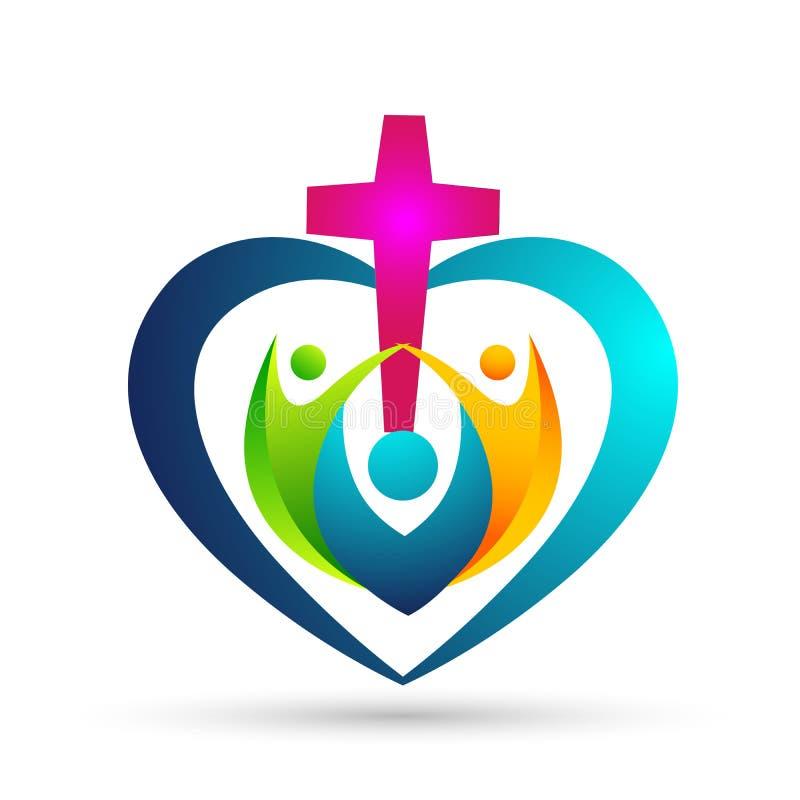 Логотип сердца соединения любов церков семьи форменный иллюстрация штока